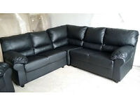 NEW Graded Black Leather Corner Sofa Suite Free Local Delivery