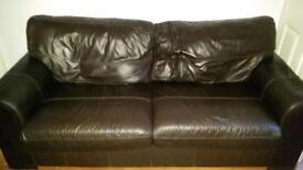2x2 brown leather sofa