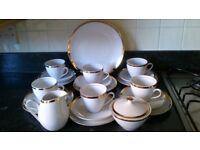 Bohemia Brigitta White China Gilt Gold Edged Detail Tea Set Cups Saucers Plates Milk Jug Sugar Bowl