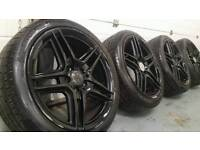 "GENUINE MERCEDES BENZ AMG 18"" alloys wheels + matching tyres!! 5x112 vw audi seat vag"