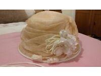 Nigel Rayment GENEVIEVE LOUIS Wide Brim Ivory Cream Wedding Hat Ascot