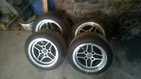 7x13 4x108 ford escort fiesta replica rs4 alloys with good tyres