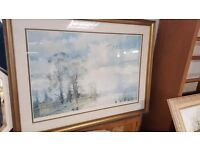 Pastoral Watercolour in Gold-coloured Frame