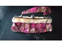 SUEDE AND FUR EVENING BAG