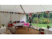 Compact Photo Booth Hire, Props, USB, photo gallery, draw and write facility