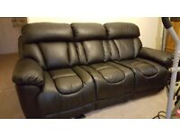Leather reclining 3 seater