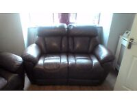 Genuine soft brown leather electric recliner sofa and two armchairs for sale Can deliver if needed.