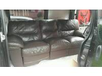 3 and 2 seater brown leather recliner sofas