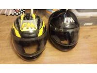 2 FM Motorbike Crash Helmets (2nd hand) Size 60