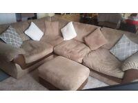 4 Large Seater Beige Corner Sofa