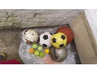 Mixture of BALLS INCLUDING KIPSTA AND TENNIS BALLS ALL USED