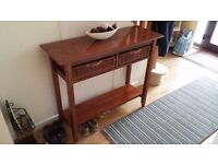 Dark wood Hall table with 2 wicker drawers