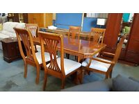 Large rectangular dining table and six chairs