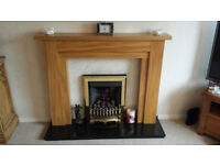 Solid Oak Fire Surround (with downlights) and Black Granite Base *As New* can deliver