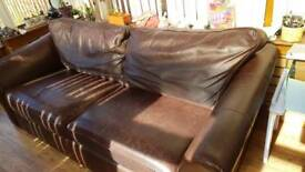 Brown leather couch. Free