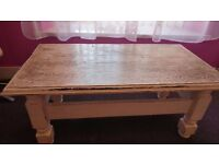 Solid wood coffee table very heavy. Ideal upcycle.