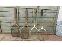 Vintage Wooden Tennis & Badington Rackets