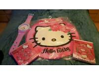 Curtains rug quilt cover and clock set hello kitty