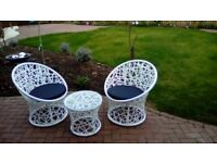 Bistro set, glass table and 2 chairs with cusions