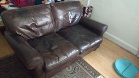 Sofa (Laura Ashley) 100% Cardinal Leather. Good cond