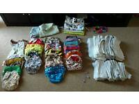 Reusable nappies + inserts + wipes