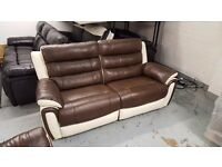 NEW ScS FIESTA BROWN & CREAM LEATHER 3 Seater Electric Recliner Sofa **CAN DELIVER**
