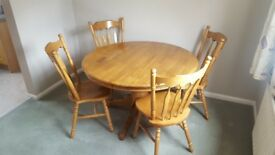 Extendable Solid Pine Table and Chairs