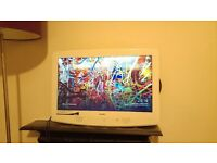 Bush 22 inch LCD TV in white - Fully functional, no remote, comes with stand