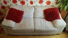 Thick Cord 3 Seater Sofa in Cream
