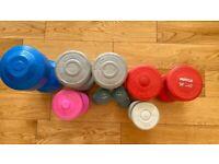 VARIETY DUMBBELLS - 4.5kg, 3kg, 2kg, 1.5kg, 1.1kg - 9 PIECES TOTAL