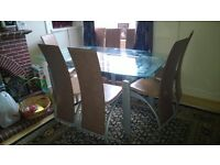 Excellent Glass Dining Room Table with Eight Leather Chairs