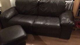 Brown Leather 3 Seater Settee, chair and footstool