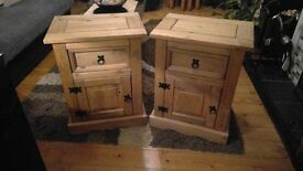2 x Mexican Pine Bedside Cabinets and set of Nest Tables Sold all together or seperately.