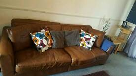 4 seater sofa brown leather