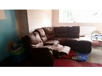 Brown Corner Sofa with recliner