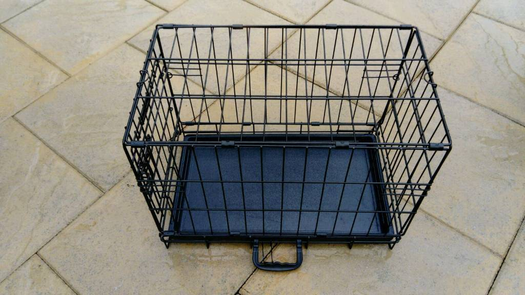 DOGGY SOLUTIONS SMALL BLACK METAL DOG CRATE VGC