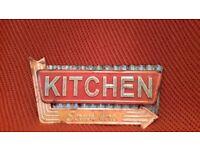 Retro metal kitchen sign