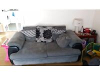 2 and 3 seater sofas in grey and black. Looking for £100 ono.
