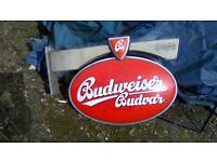 Large Budweiser illuminated double sided wall hanging advertising sign