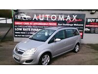 7 SEATER 2009 (59) VAUXHALL ZAFIRA 1.6 EXCLUSIVE MPV 5 DOOR IN SILVER ONLY 48k F/S/H NEW MOT CD +