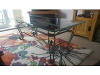 Wrought Iron Base, Toughened Glass Coffee Table