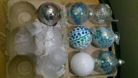 Christmas Tree Baubles Glass x10 and 3 Glass Angels and 5 mini Christmas Trees