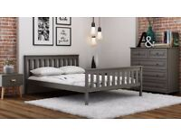 Wooden Bed Pine 3ft Single 90x190cm Solid Wood Grades Single Teen Grey Frame