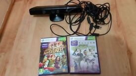 Official Microsoft Xbox 360 Kinect Sensor Bar - Good Condition PLUS 2 GAMES