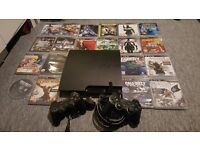 PS3 slim 160gb + 20 Games for Sale