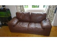 brown leather sofabed 2 seater