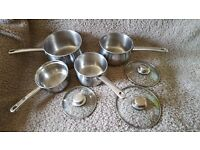 1 Swan and 3 Prestigue stainless steel pans for sale