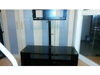 Heavy Duty Black Glass and Metal TV Stand