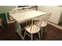 Wooden farmhouse table perfect for upcycling project