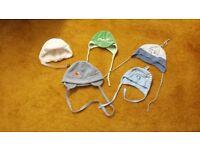 Set of 5 baby boy hats caps with ties